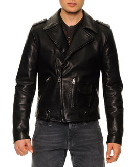 Dolce & Gabbana Leather-Blend Asymmetric-Zip Biker Jacket