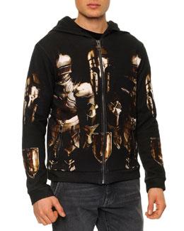Dolce & Gabbana Armor-Print Zip-Front Hoodie