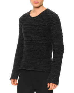 Dolce & Gabbana Textured Crewneck Sweater, Gray