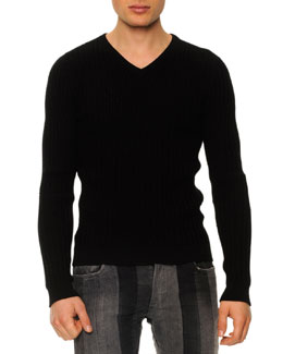 Textured V-Neck Sweater, Black