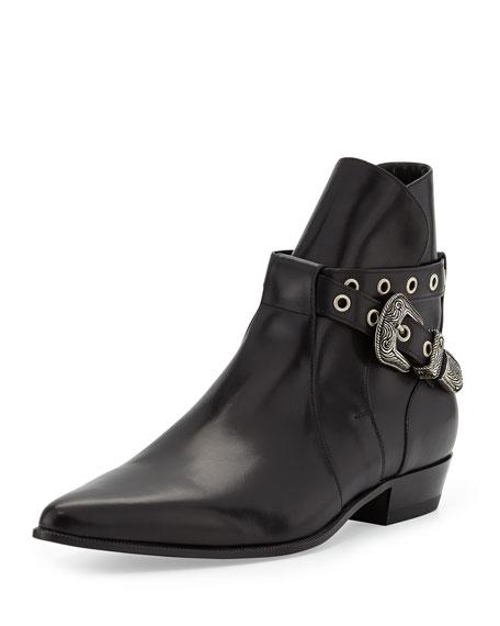 Duckies Belt-Detail Leather Boot, Black