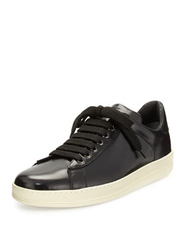 Russell Low-Top Calfskin Sneaker, Black