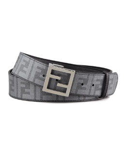 Fendi Zucca-Print Reversible Belt, Black/Gray