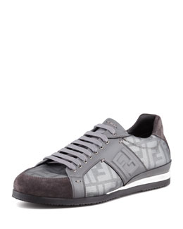 Fendi Metallic Zucca-Print Low-Top Sneaker, Silver