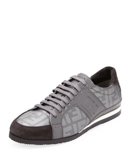 Fendi Men's Zucca Low-Top Sneaker, Silver