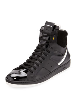 Fendi Men's Mixed-Leather High-Top Sneaker, Black