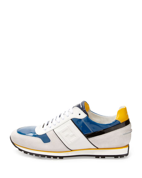 Patent and Suede Low-Top Sneaker, Blue/White