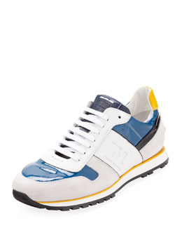 Fendi Patent and Suede Low-Top Sneaker, Blue/White