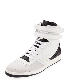 Fendi Suede and Leather High-Top Sneaker, White