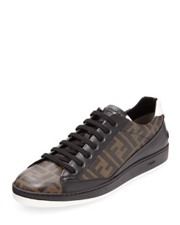 Fendi Men's Zucca-Print Low-Top Sneaker, Tobacco