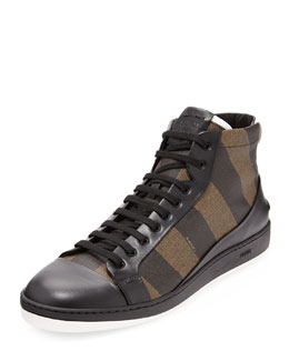 Fendi Men's Pequin Stripe High-Top Sneaker, Tobacco