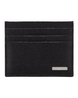 Fendi Men's Crayon Saffiano Credit Card Case, Black