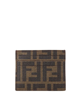 Fendi Men's Logo Credit Card Case, Tobacco