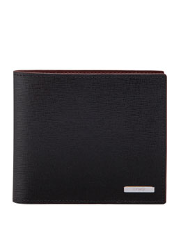 Fendi Zucca Saffiano Bi-Fold Wallet, Black/Red