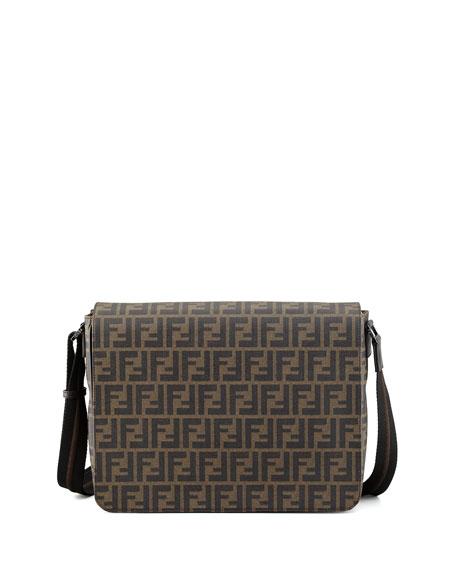 Fendi Zucca-Print Flap-Top Messenger Bag, Tobacco