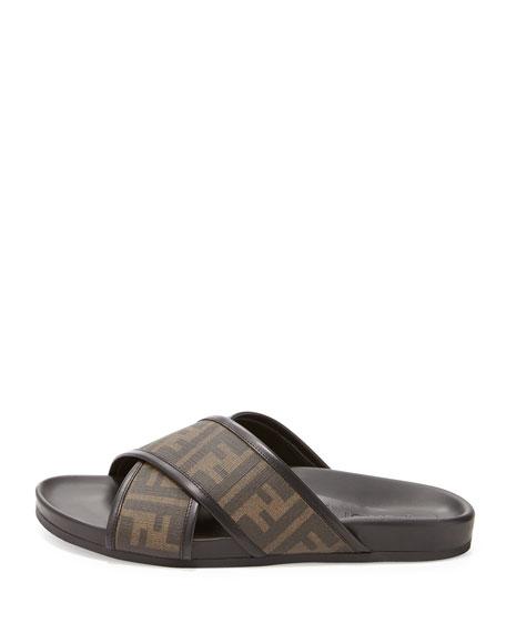 ab5d8a7608a6 Fendi Zucca-Print Crisscross Sandal