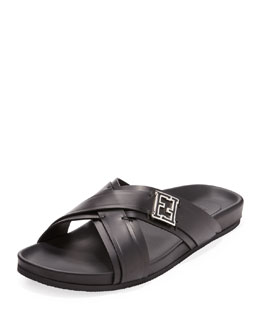 Fendi Leather Crisscross Sandal, Black