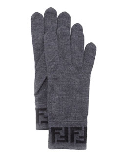 Fendi Men's Zucca Knit Gloves, Gray/Black