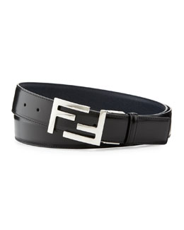 Fendi Reversible FF-Buckle Leather Belt, Black/Navy