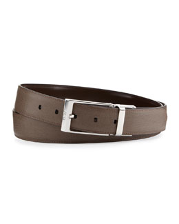 Fendi Men's Reversible Leather Belt, Brown/Taupe