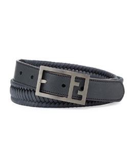 Fendi Reversible Braided Leather FF Men's Belt, Navy