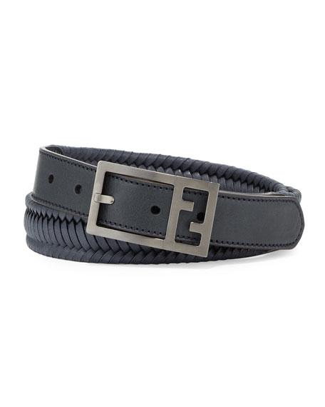 Fendi Reversible Braided Leather FF Men's Belt, Navy