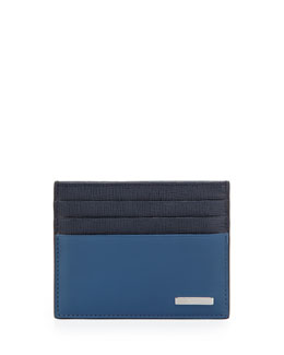 Fendi Colorblock Mixed Card Case, Blue/Navy