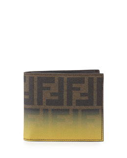 Fendi Men's Ombre Zucca Bi-Fold Wallet, Yellow/Tobacco
