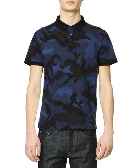 Valentino short sleeve camo polo shirt navy royal blue black for Camo polo shirts for men