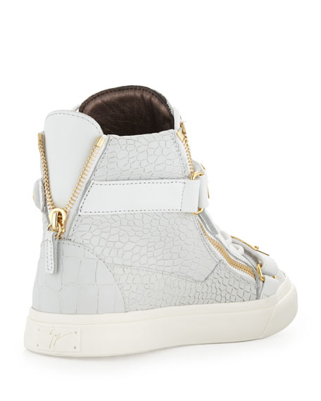 Plated High-Top Sneakers, White/Gold
