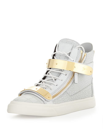 Sale alerts for Giuseppe Zanotti  Men's Plated High-Top Sneakers, White/Gold  - Covvet