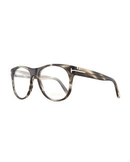 Round Acetate Fashion Glasses, Gray