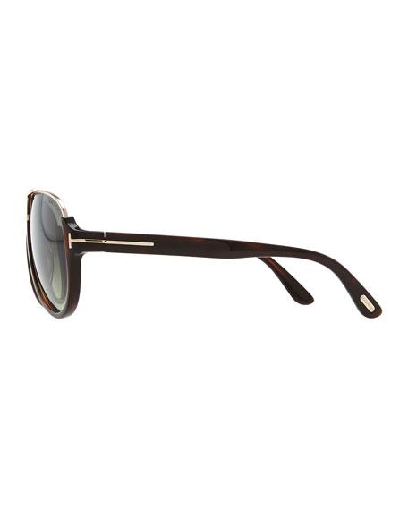 Dimitri Rimless Aviator Sunglasses, Dark Brown