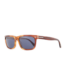 Hugh Acetate Sunglasses, Light Brown