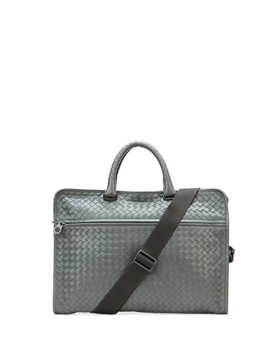 Soft Slim Woven Briefcase, Light Gray