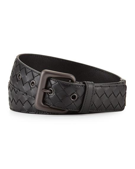 Intrecciato Leather Belt - Black Bottega Veneta ofm9d8mnF