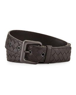 Men's Intrecciato Leather Belt, Brown