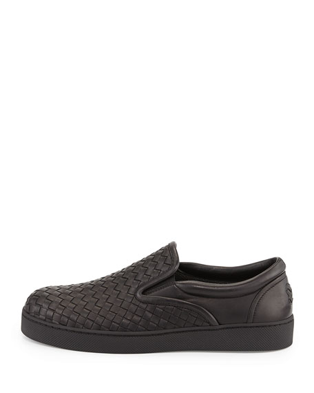 Woven Leather Slip-On Sneaker, Black