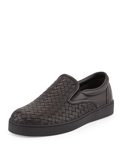 Woven Leather Slip-On Sneaker, Black