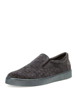 Bottega Veneta Woven Slip-On Skate Shoe, Medium Gray