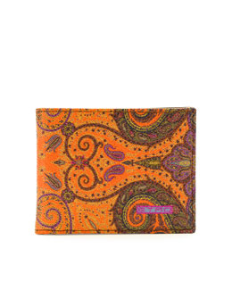 Etro Paisley-Print Leather Wallet, Orange