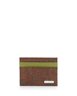 Etro Paisley-Print Credit Card Holder, green multi