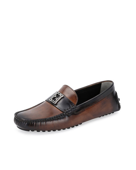 Fendi FF-Buckle Leather Driver, Brown