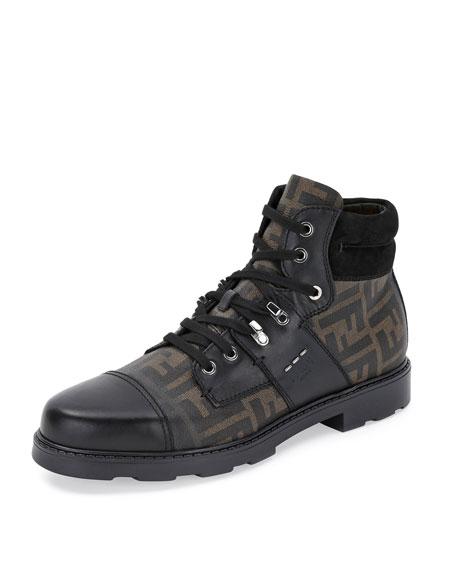 Fendi Zucca Leather Hiker Boot, Brown/Black