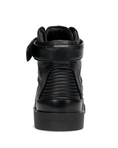 Contrast-Toe High-Top Sneaker, Black/White
