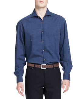 Washed Denim Dot-Print Shirt, Blue