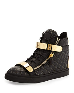 Men's Quilted Leather High-Top Sneaker, Black