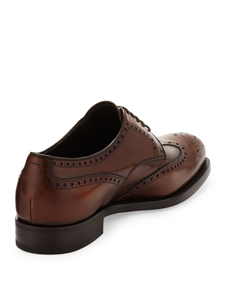 Leather Wing-Tip Lace-Up, Brown