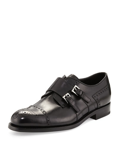 Medallion Leather Double Monk Shoe, Black