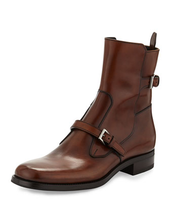 Prada Leather Double-Buckle Short Boot, Brown